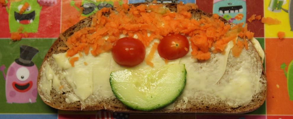 Belegtes Brot als Smiley